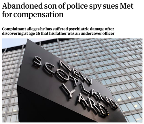 """TBS (son of Bob Lambert and Jacqui) made claim against the Metropolitan police for damages.<br><a href=""""https://www.theguardian.com/uk-news/2017/dec/04/abandoned-son-of-police-spy-sues-met-for-compensation"""" target=""""blank"""" rel=""""noopener noreferrer"""">[ MORE DETAILS ]</a>"""
