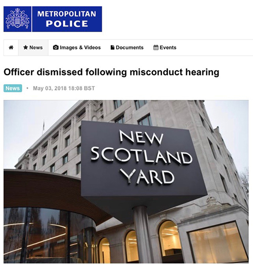 """Boyling dismissed following misconduct hearing based on Rosa's evidence. The panel read out files Boyling submitted on Rosa during relationship.<br><a href=""""http://news.met.police.uk/news/officer-dismissed-following-misconduct-hearing-305227"""" target=""""blank"""" rel=""""noopener noreferrer"""">[ MORE DETAILS ]</a>"""