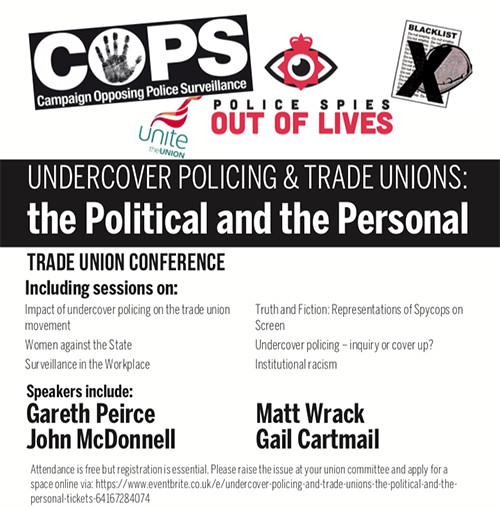 """Trade union conference and political policing at Greenwich University.<br><a href=""""https://www.eventbrite.co.uk/e/undercover-policing-and-trade-unions-the-political-and-the-personal-tickets-64167284074"""" target=""""blank"""" rel=""""noopener noreferrer"""">[ CONFERENCE ]</a>"""