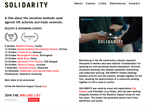 """Premier screening of Solidarity about undercover police and blacklisting of construction workers. <br><a href=""""http://www.solidarityfilm.com"""" target=""""blank"""" rel=""""noopener noreferrer"""">[ www.solidarityfilm.com ]</a>"""