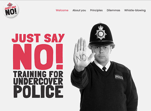 """Police Spies Out of Lives launches <a href=""""https://www.spycoptraining.co.uk/"""" target=""""blank"""" rel=""""noopener noreferrer"""">Just Say No!</a> – a parody training resource for undercover police."""
